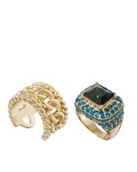 ASOS - Blue Vintage Style Cocktail Ring Chain Link Band Pack - Lyst