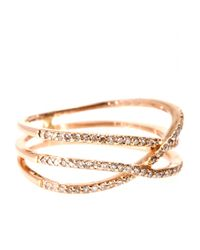 Jacquie Aiche | Metallic 14kt Rose Gold Triple Row Eternity Ring with White Diamonds | Lyst