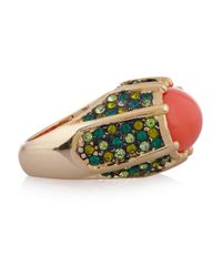 Kenneth Jay Lane | Red Goldplated Crystal and Cabochon Ring | Lyst