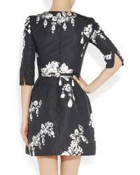 Oscar de la Renta | Black Printed Silk-Faille Dress | Lyst