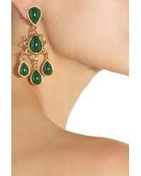 Oscar de la Renta - Green Asymmetric Crystal Clip Earrings - Lyst