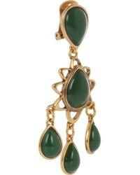 Oscar de la Renta - Green Asymmetric Crystal Clip Earrings - Lyst