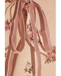 RED Valentino - Pink Rose Print Ruffled Chiffon Blouse - Lyst