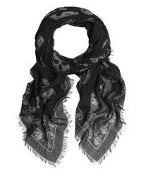 Alexander McQueen | Black and White Skull Pashmina for Men | Lyst