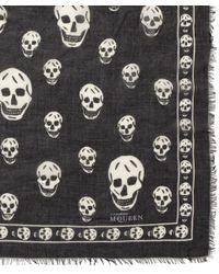 Alexander McQueen - Black Skull Print Fine Knit Scarf - Lyst