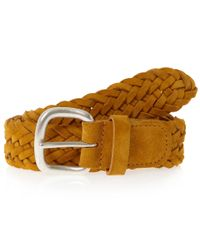 Andersons - Yellow Mustard Woven Suede Belt for Men - Lyst