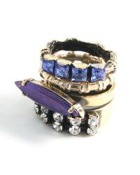 Iosselliani - Metallic Bronze and Purple Swarovski Stacking Rings - Lyst