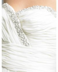 JS Collections | White Strapless Jewel Ruched Waist Dress | Lyst