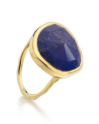 Monica Vinader | Metallic Goldplated Vermeil Lapis Lazuli Siren Ring | Lyst