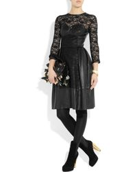 Mulberry - Black Paneled Leather and Lace Dress - Lyst