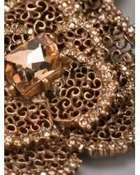 Oscar de la Renta - Pink Embellished Rose Necklace - Lyst