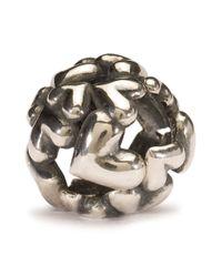 Trollbeads | Metallic Heart Ball Silver Charm Bead | Lyst