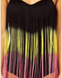 ASOS - Multicolor Dip Dye Fringed Bandeau Swimsuit - Lyst