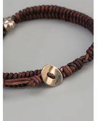 Chan Luu - Brown Leather Skull Bracelet for Men - Lyst