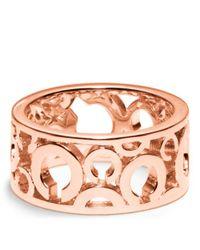 COACH - Pink Pierced Op Art Band Ring - Lyst