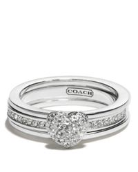 COACH | Metallic Sterling Pave Heart Convertible Ring | Lyst