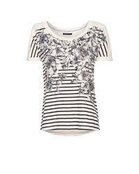 Mango | Black Flowers and Striped Tshirt | Lyst