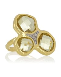 Monica Vinader | Metallic Riva Goldplated Lemon Quartz and Diamond Ring | Lyst