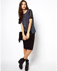 ASOS - Black T-shirt with All Over Sequin and Pu Sleeves - Lyst