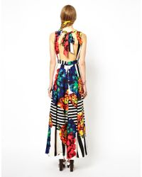 ASOS - Multicolor Stripe Sleeveless Floral Maxi Dress - Lyst