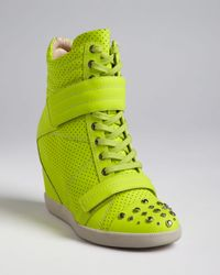 Boutique 9 - Yellow High Top Wedge Sneakers Nevan - Lyst