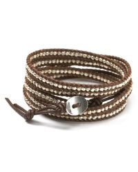 Chan Luu - Brown Sterling Silver Nugget Leather Wrap Bracelet - Lyst