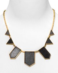 House of Harlow 1960 | Black Leather Station Necklace, 18"