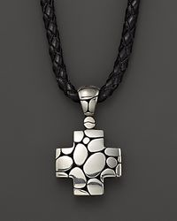 John Hardy | Metallic Men's Kali Silver Cross Pendant On Black Leather Cord for Men | Lyst