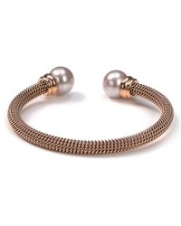 Majorica | Metallic Stainless Steel And Nuage Simulated Pearl Cuff | Lyst