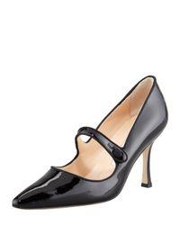 Manolo Blahnik - Black Campari Patent Leather Mary Jane - Lyst