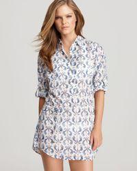 Tory Burch - Blue Seahorse Print Beach Cover Up Tunic Dress - Lyst