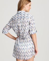 Tory Burch - Blue Seahorse Print Beach Cover Up Tunic Dress - Lyst