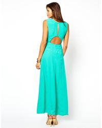 ASOS   Green Maxi Dress with Cut Out and Front Split   Lyst