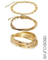 ASOS - Metallic Multipack Bangles Chain Bracelets - Lyst