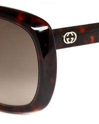 Gucci - Metallic Tortoiseshell Squared Layered Sunglasses - Lyst