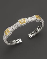 Judith Ripka | Metallic Narrow Estate Cuff with Canary Crystal | Lyst