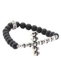 King Baby Studio | Metallic Onyx Bead Bracelet With Multi Skull Cross for Men | Lyst