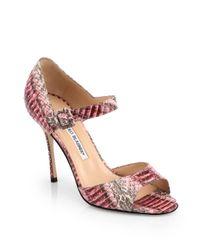 Manolo Blahnik | Caldo Snakeskin Ankle Strap Sandals | Lyst