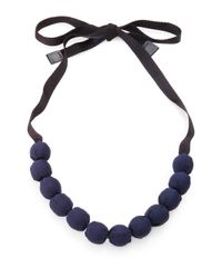 Max Mara | Blue Fabric Bead Necklace | Lyst