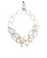 French Connection - Metallic Irregular Hoop Bead Drop Collar Necklace - Lyst