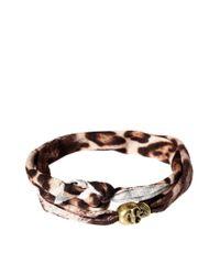 ASOS - Black Skull Leopard Wrap Bracelet Exclusive To Asos - Lyst