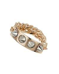 TOPSHOP - Metallic Mixed Metal Spike Id and Chain Bracelet - Lyst