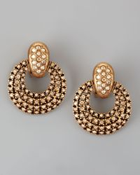 Oscar de la Renta | Metallic Pave Doorknocker Earrings | Lyst
