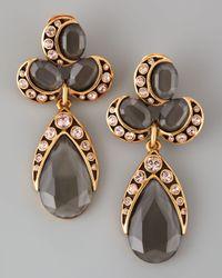 Oscar de la Renta - Faceted Cluster Teardrop Earrings Gray/pink - Lyst