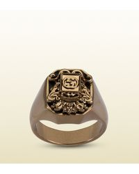 Gucci - Metallic Vintage Crest Ring for Men - Lyst