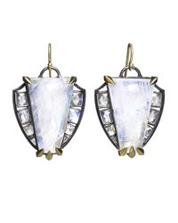 Nak Armstrong - White Rainbow Moonstone Shield Earrings - Lyst