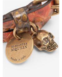 Alexander McQueen - Brown Skull-detailed Snake Wrap Bracelet - Lyst