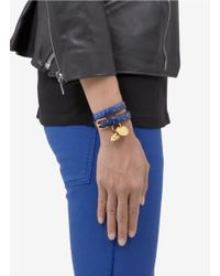 Alexander McQueen - Purple Snake-effect Leather Wrap Bracelet - Lyst