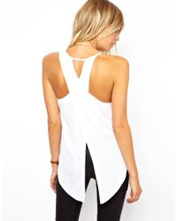 ASOS | White Vest with Asymmetric Straps and Wrap Back | Lyst