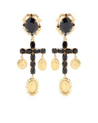 Dolce & Gabbana | Metallic Crystal Cross Earrings | Lyst